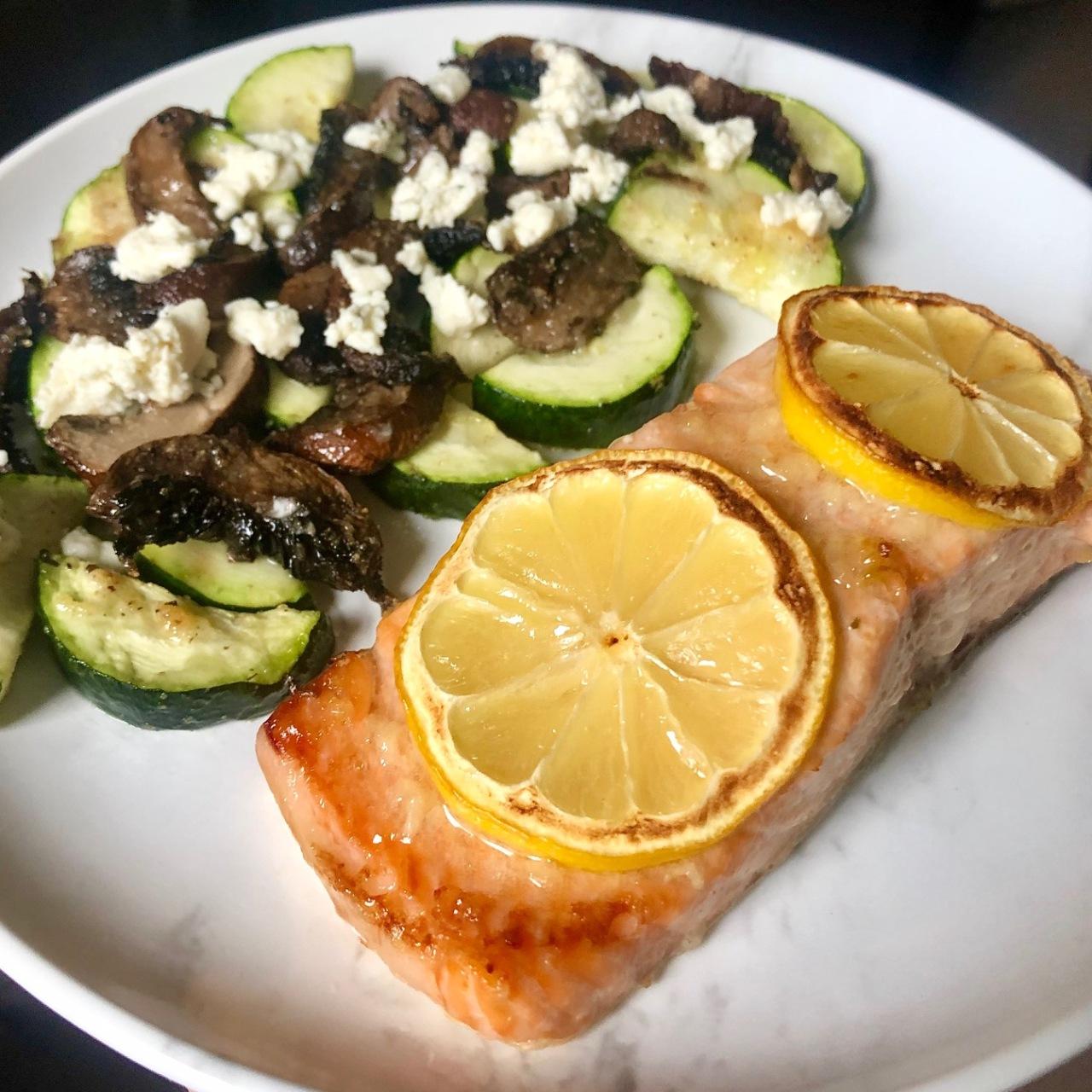 Air fried lemon honey garlic salmon