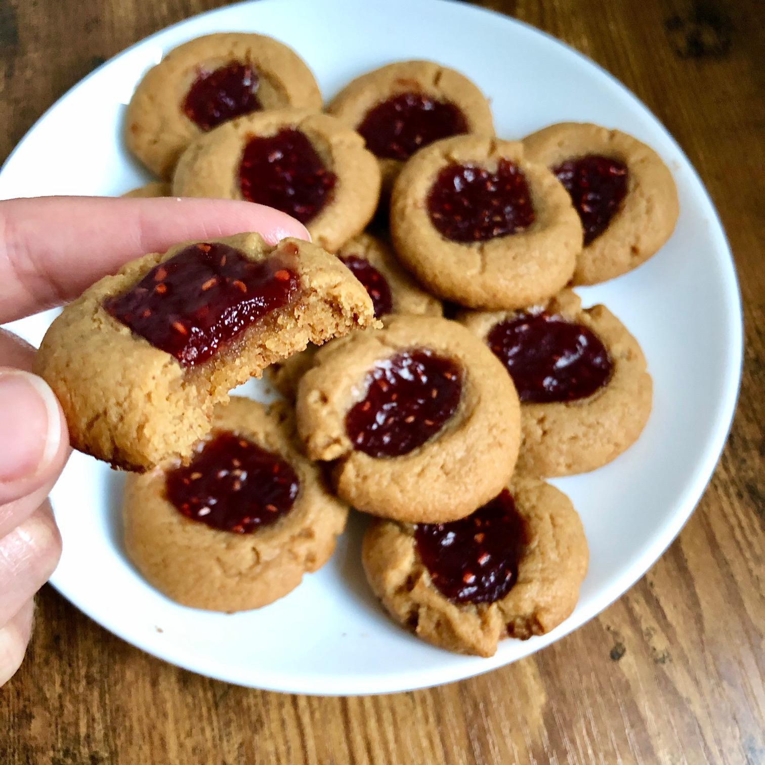 Gluten Free PB&J Thumbprint Cookies