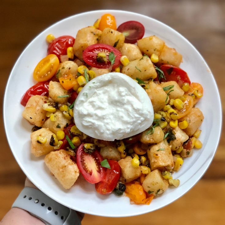 gnocchi with corn tomatoes and burrata