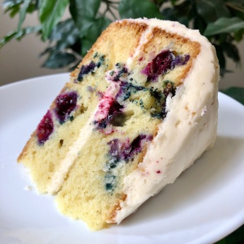 Blueberry Buttermilk Cake with Maple Frosting